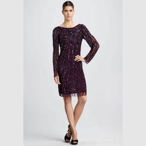 Aidan Mattox Purple Beaded Short Dress